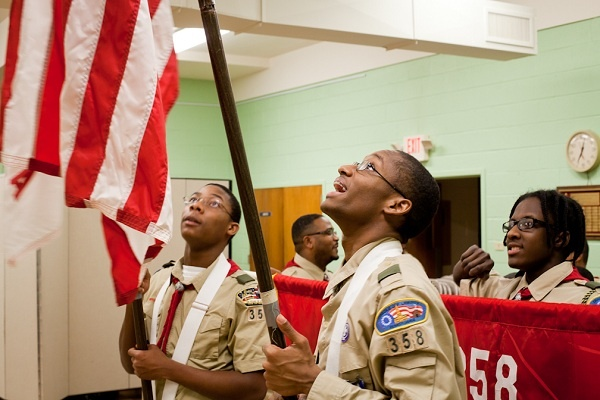 <p><p>Samuel Godwin laughs before practice a march in the basement of Grace Baptist Church in Germantown on Wednesday. He has been with the Boy Scouts for seven years. (Brad Larrison/for NewsWorks)</p></p>