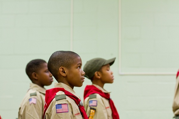 <p><p>The Webolos of Troop 358 get in formation during a march rehearsal. (Brad Larrison/for NewsWorks)</p></p>
