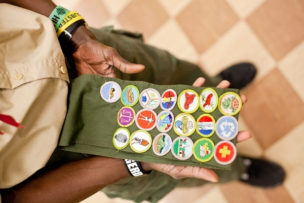 <p><p>Armond Smith of Boy Scout Troop 358 shows off his collection of merit badges. (Brad Larrison/for NewsWorks)</p></p>