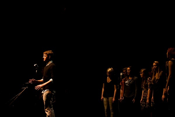 """<p><p>Nic Hanson and students from Penn Charter Quaker's Dozen perform """"Thinkin' Bout You"""" by Frank Ocean. (Brad Larrison/for NewsWorks)</p></p>"""