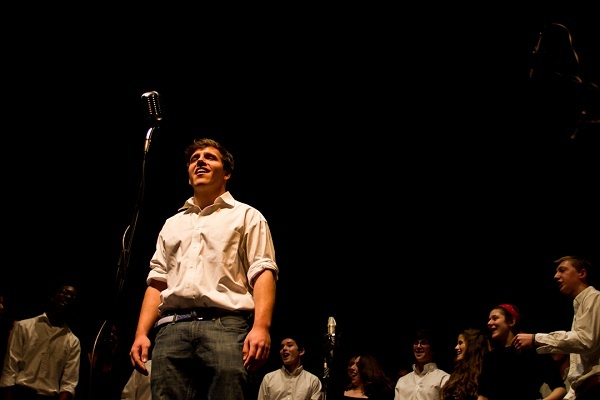 """<p><p>Wyn Rall and the SCH Academy Chamber Singers perform """"Some Nights"""" by fun. (Brad Larrison/for NewsWorks)</p></p>"""