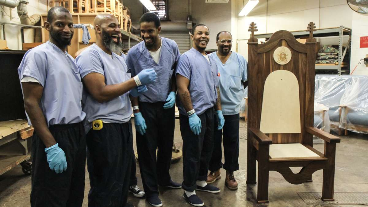 PhilaCor inmates worked together to construct a chair to be given to Pope Francis. (Kimberly Paynter/WHYY)
