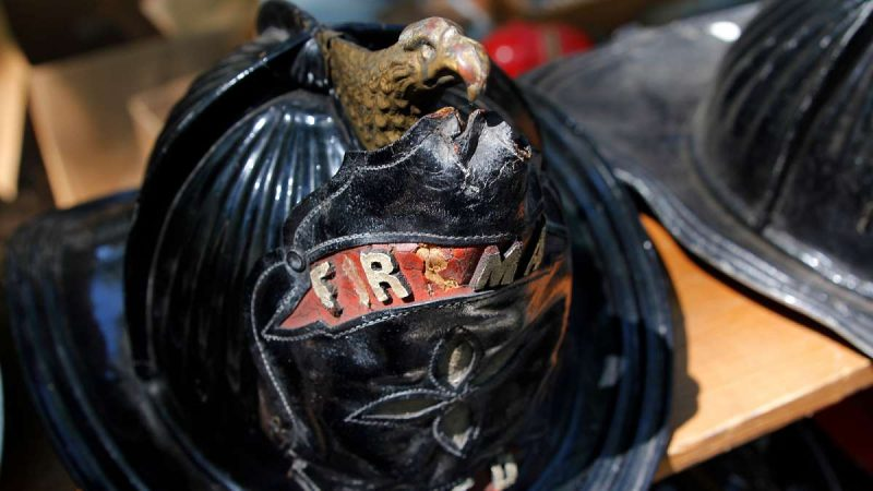 Detail from an antique firefighter's helmet at the 37th Annual Fire Apparatus Show and Muster at WheatonArts, in Millville, NJ, on Sunday. (Jana Shea for NewsWorks)