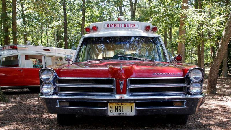 A classic Pontiac Bonneville ambulance at the 37th Annual Fire Apparatus Show and Muster at WheatonArts, in Millville, NJ, on Sunday. (Jana Shea for NewsWorks)