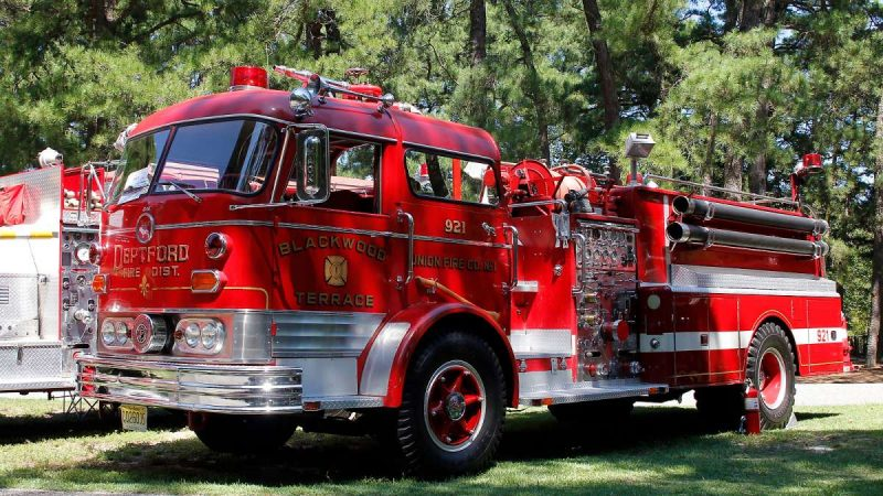 A 1964 Mack C95 pumper at the 37th Annual Fire Apparatus Show and Muster at WheatonArts, in Millville, NJ, on Sunday. (Jana Shea for NewsWorks)