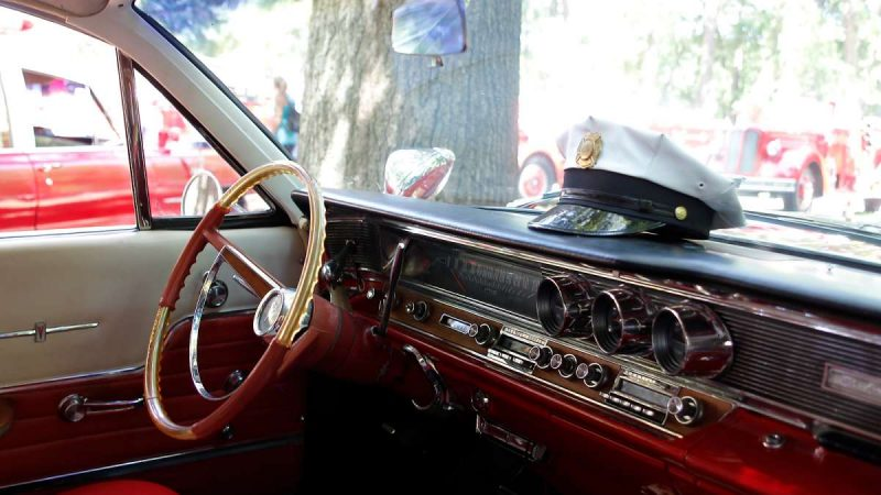 The interior of a Pontiac Bonneville at the 37th Annual Fire Apparatus Show and Muster at WheatonArts, in Millville, NJ, on Sunday. (Jana Shea for NewsWorks)