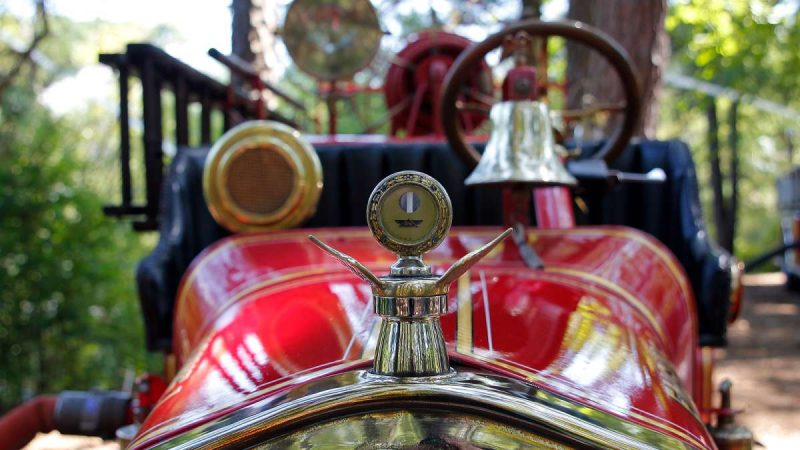 Detail from a vintage Ford Model-T fire truck at the 37th Annual Fire Apparatus Show and Muster at WheatonArts, in Millville, NJ, on Sunday. (Jana Shea for NewsWorks)