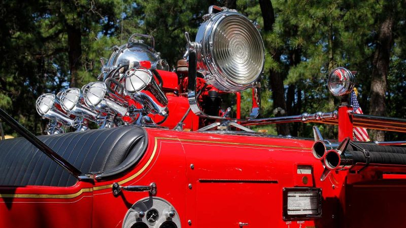 Retro search lights atop a 1948 Ward LaFrance fire engine at the 37th Annual Fire Apparatus Show and Muster at WheatonArts, in Millville, NJ, on Sunday. (Jana Shea for NewsWorks)