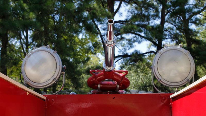 Detail of hose nozzle and searchlights from a 1948 American LaFrance fire engine at the 37th Annual Fire Apparatus Show and Muster at WheatonArts, in Millville, NJ, on Sunday. (Jana Shea for NewsWorks)