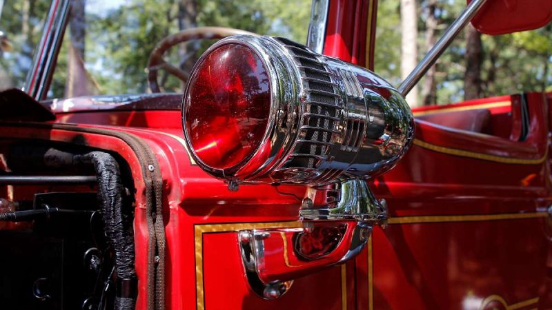 Detail of a classic fire truck at the 37th annual fire apparatus show and muster at the 37th Annual Fire Apparatus Show and Muster at WheatonArts, in Millville, NJ, on Sunday. (Jana Shea for NewsWorks)