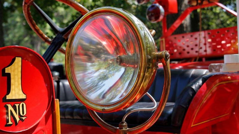 It's the brass and chrome details that really showcase the evolution of fire engines at the 37th Annual Fire Apparatus Show and Muster at WheatonArts, in Millville, NJ, on Sunday. (Jana Shea for NewsWorks)