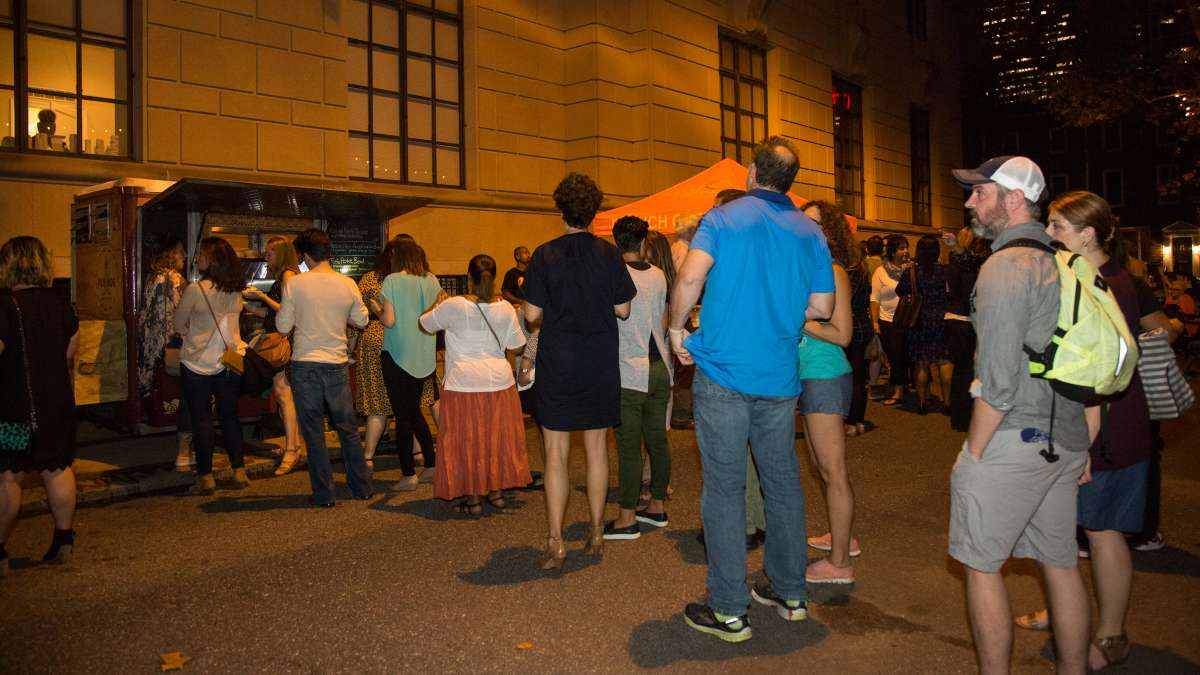 The line stayed long all night for a taste of Poi Dog Philly at the Fairmount Park Conservancy's Glow in the Park gathering.