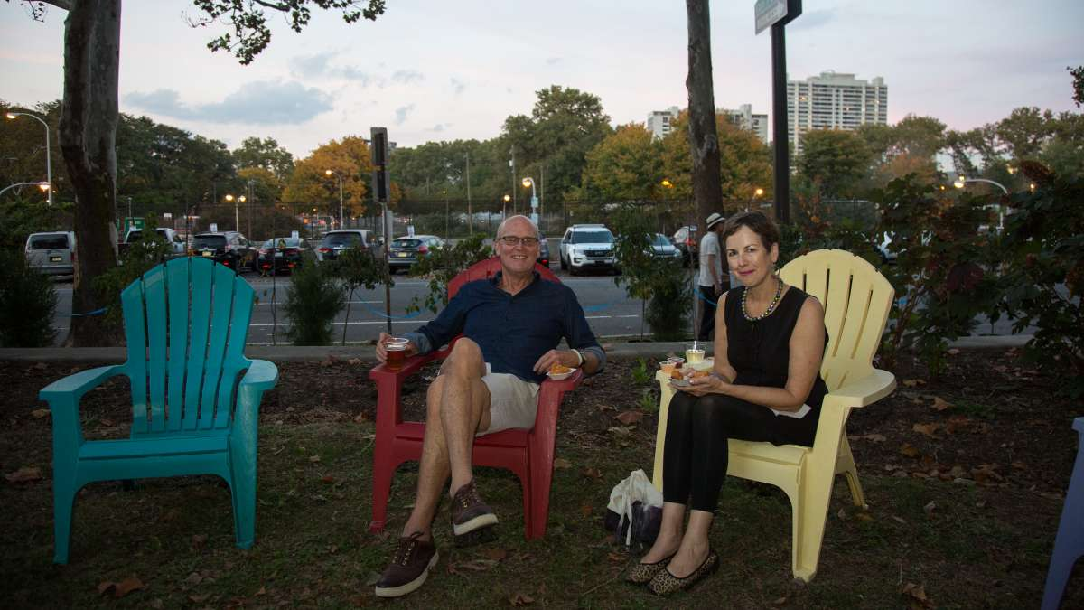 Parnters and lifelong city dwellers Paul Laskow and Margret Meigs hang out at Glow in the Park.
