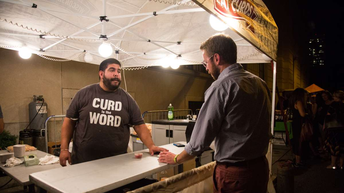 ''It's like a mozzarella stick, but better'' a patron said upon trying the fried cheese curds offered up by The Cow and the Curd. The Cow and the Curd was one of six food vendors at the 5th annual Glow in the Park put on by the Fairmount Park Conservancy.