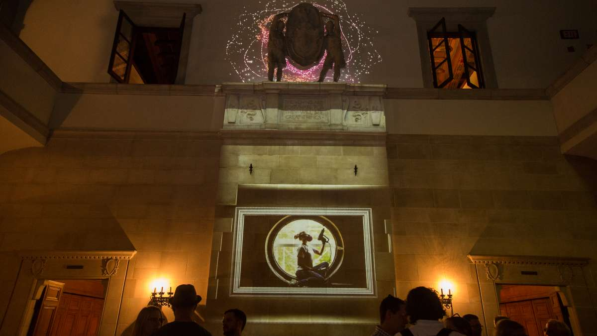 The Klip Collective projected a lighting installation on and inside the main building at the Palazzo on the Parkway at the Fairmount Park Conservancy's Glow in the Park gathering. The building used to house the Boy Scouts of America, but now is under renovation to become a more functional part of the Fairmount Park system.