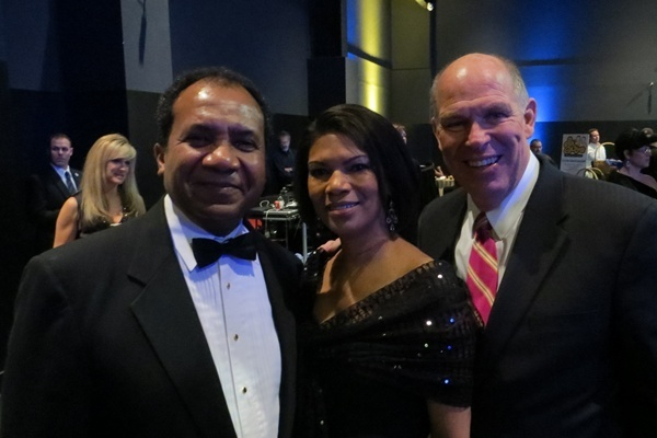 <p><p>Wilmington's new mayor Dennis Williams with his wife Shayne and House Speaker Pete Schwartzkopf (Shana O'Malley/ NewsWorks) </p></p>