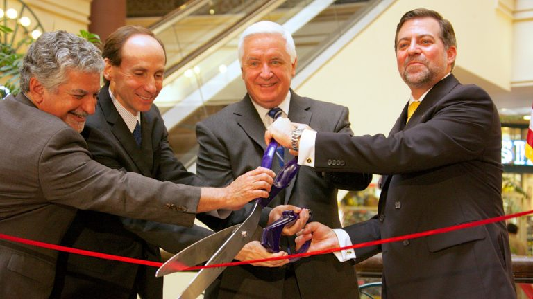 Pennsylvania Governor Tom Corbett helps cut the ribbon with Chilean officials and Philadelphia deputy mayor Alan Greenberger near the site of Chile's new consulate in Philadelphia.  (Nathaniel Hamilton/For NewsWorks)