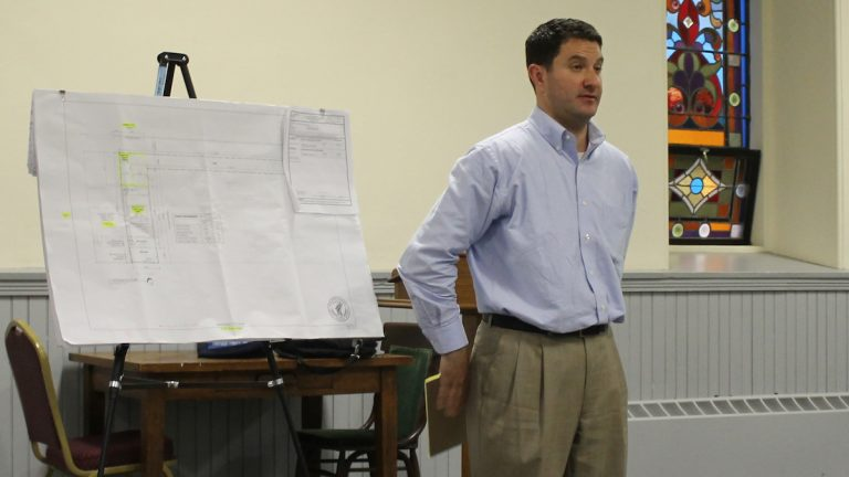 Wissahickon Neighbors Civic Association and project developers met on Monday night.  (Matthew Grady/NewsWorks)