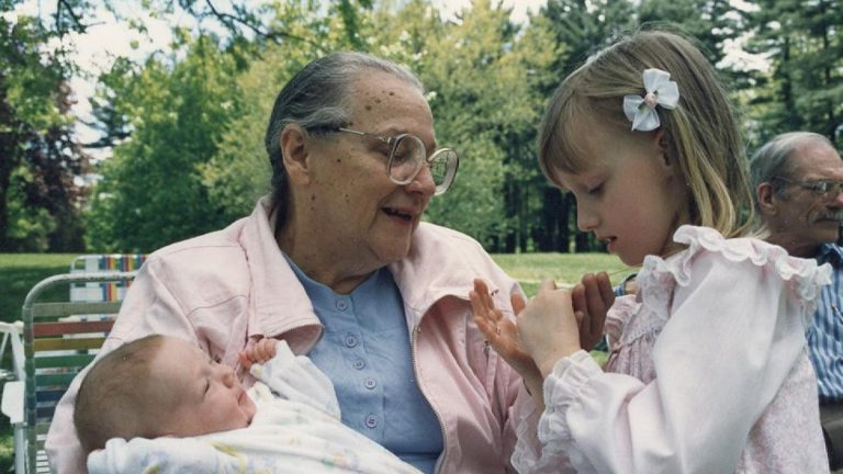 Rose McCarthy with Katie Booth and her baby sister Lena Booth.(Courtesy of Barrie Booth)