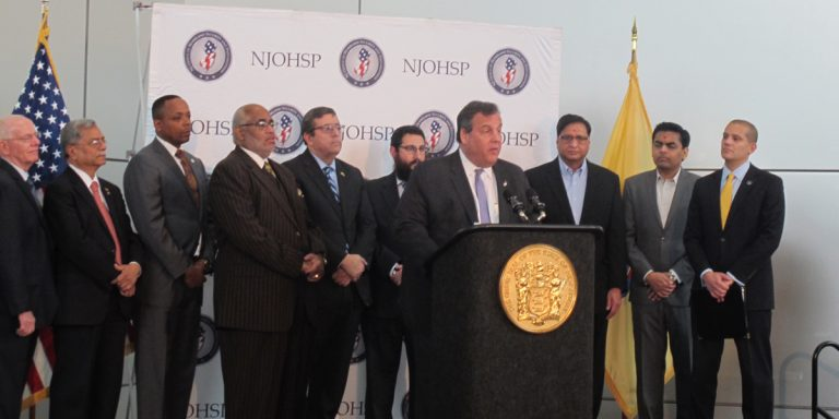 New Jersey Gov. Chris Christie announces the state grant program. (Phil Gregory/WHYY)