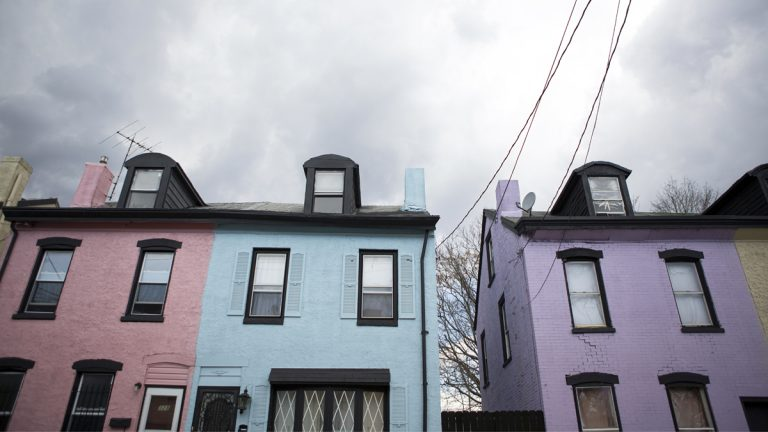 "Landlord Debbie DeSimone painted the homes on Rose Street different shades of bright, pastel colors. ""…Somewhere between Lucky Charms and Rainbow Row."" (Jessica Kourkounis/For Keystone Crossroads)"