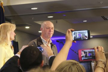 Republican Greg Gianforte greets supporters at a hotel ballroom in Bozeman, Montana, on May 25, after winning Montana's sole congressional seat. In his speech, Gianforte apologized for a altercation at his campaign headquarters with a reporter on the eve of the special election. The altercation led to a misdemeanor assault citation. (AP Photo/Bobby Caina Calvan)