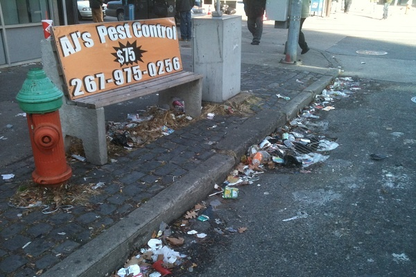 <p><p>Trash on the ground near Germantown and Chelten aves. (Karl Biemuller/for NewsWorks)</p></p>