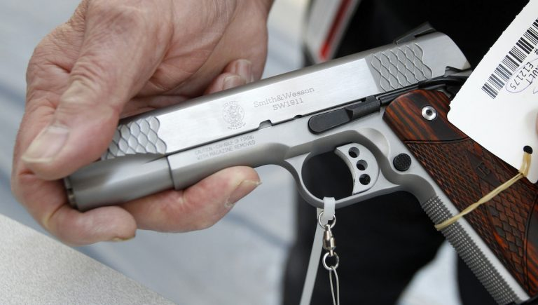 A .45 cal pistol at the display set up before the National Rifle Association's annual meeting in Pittsburgh, in 2011. (AP Photo)