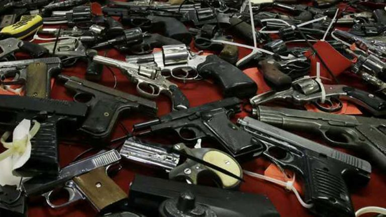 A 2012 gun buy back netted over 1100 guns in Camden, N.J. A few of those guns are shown here. (Mel Evans/AP Photo, file)