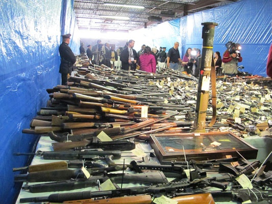 <p>A shoulder-firing rocket launcher is among the weapons turned in at the Trenton gun buyback program (Phil Gregory for NewsWorks)</p>