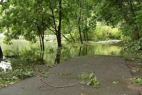 The path along Crystal Lake Park in Haddon Township NewJersey is covered in water following Hurricane Irene.