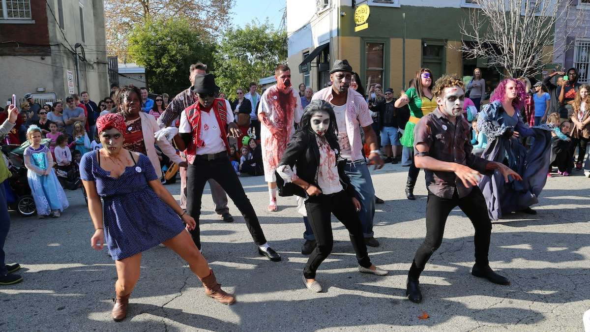 Zombies took over Cotton Street lurching out with eerie dance moves for a chance to win a $100 cash prize.(Natavan Werbock/for NewsWorks)