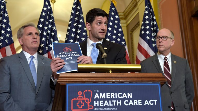 House Speaker Paul Ryan, standing with Energy and Commerce Committee Chairman Greg Walden, right, and House Majority Whip Kevin McCarthy, left, speaks during a news conference on the American Health Care Act on Capitol Hill. (AP Photo/Susan Walsh)