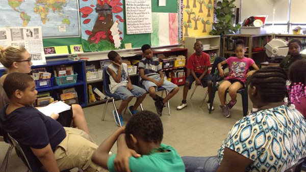 Students are sweltering  at the un-air-conditioned Freedom School program at Huey Elementary in the Cobbs Creek neighborhood. (Photo courtesy of Huey Elementary)