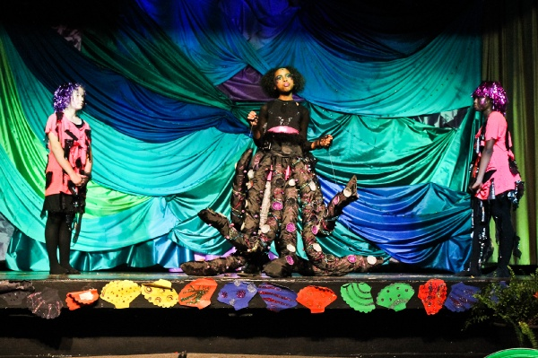 <p>6th grade student Dominique Swift as the character Ursula in Henry Elementary's production of The Little Mermaid. (Kimberly Paynter/for NewsWorks)</p>