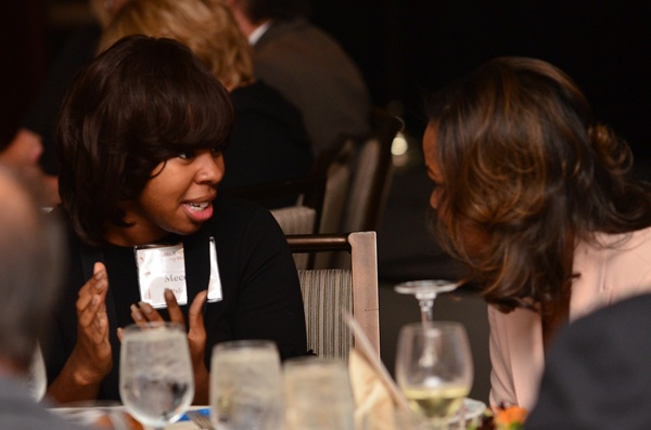 <p><p>2008 Young Heroes Awardee and 11th grader at the Baldwin School, Mecca Pelzer, with event emcee Lori Wilson of NBC 10 (Photo courtesy of Tim Evans)</p></p>