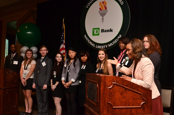 <p><p>Current and former Young Heroes awardees (from Left) DeVontray Lingo, Bridget Giovenco, Theodore Caputi, Heidi Wortell, Jinhee Lee, Mecca Pelzer, Katelyn Eystad, Antoinette Dawkins, Erika Emery (Photo courtesy of Tim Evans)</p></p>