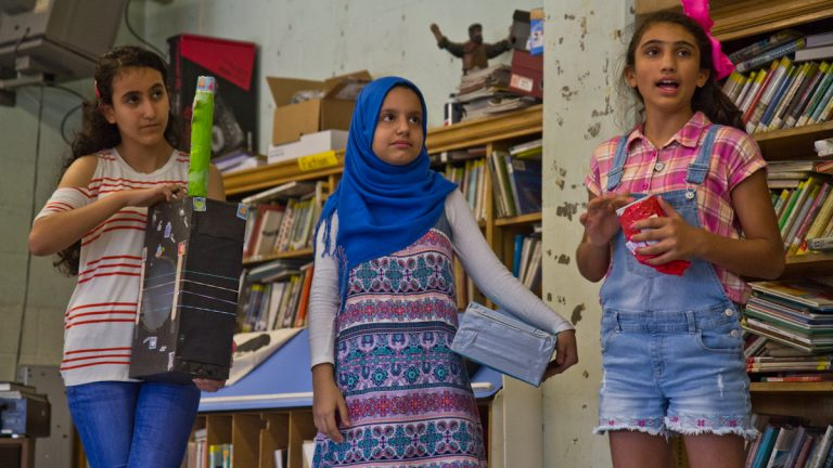 Students in the HIAS Pa. Middle School Summer Education Program created musical instruments. (Kimberly Paynter/WHYY)