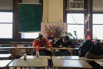 Students at an art class in Overbrook High School in Philadelphia in 2016. State Senator Vincent Hughes has cited Overbrook as an example of a school in need of repair. (Emily Cohen for WHYY)
