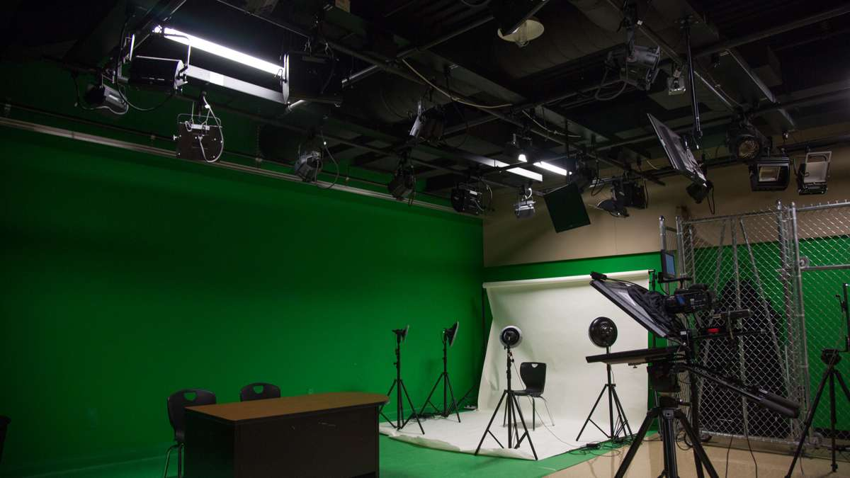 Upper Dublin High School has a TV production room for its students to record news broadcasts and learn how to work with digital media. (Emily Cohen for NewsWorks)