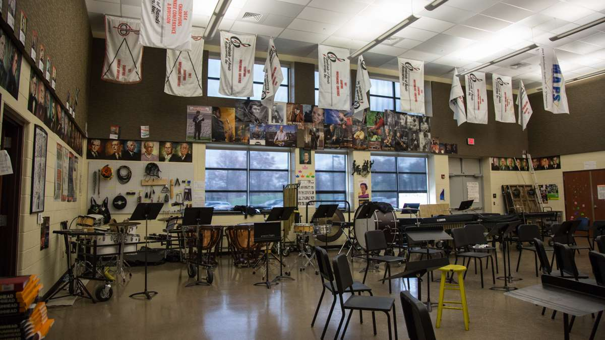 Upper Dublin High School has a choir room, a band room, an orchestral room, and mulitple private practice rooms for students. (Emily Cohen for NewsWorks)