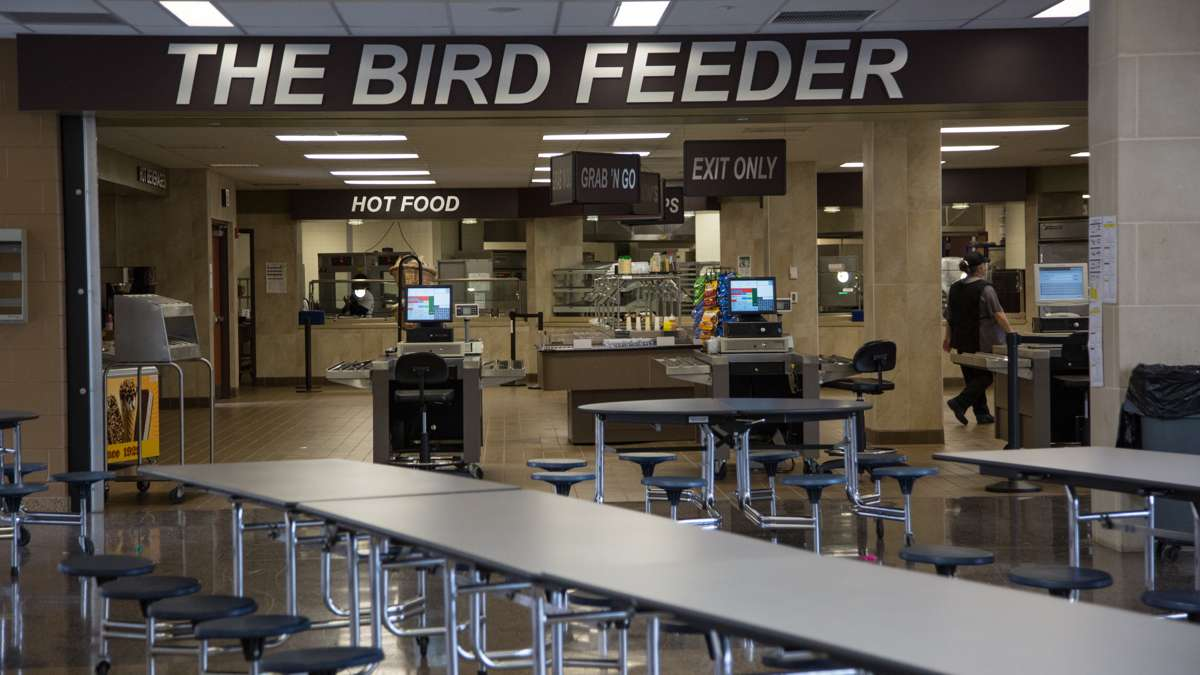 The cafeteria at Upper Dublin High School has many options like pizza or salad for students to choose from. (Emily Cohen for NewsWorks)
