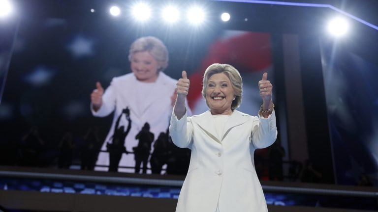 Democratic presidential nominee Hillary Clinton gives her thumbs up as she appears on stage during the final day of the Democratic National Convention in Philadelphia, Thursday, July 28, 2016. (AP Photo/Carolyn Kaster, file)