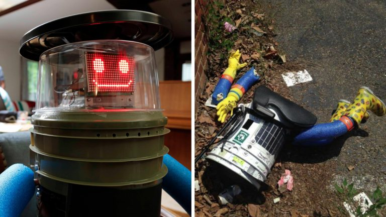 After more than a year of intercontinental travel, Canadian social experiment hitchBOT met an untimely end in the United States. (Images courtesy of <a href='https://www.flickr.com/photos/126560926@N02/page2/'>hitchBOT</a>)