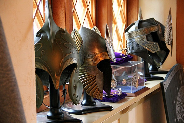 <p>Vince Donovan's collection includes a variety of life-size helmets, shields, and swords. (Emma Lee/for NewsWorks)</p>