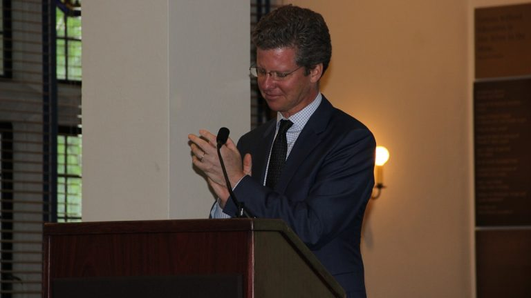 Conference keynote speaker U.S. Secretary of Housing and Urban Development Shaun Donovan said 'research changes the game' in addressing homelessness. (Maiken Scott/WHYY)