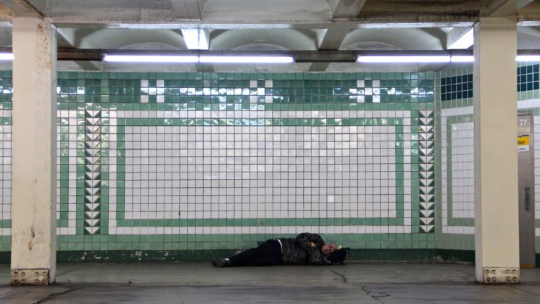 When it gets cold outside, the city's homeless take shelter in the subways. (Emma Lee/WHYY)