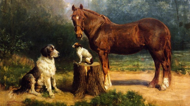Henry Ossawa Tanner's ''A Horse and Two Dogs in a Landscape'' (1891), owned by the Philadelphia school district, is part of an exhibit at the Michener Art Museum showcasing the region's school art collections. (Collection of the School District of Philadelphia)