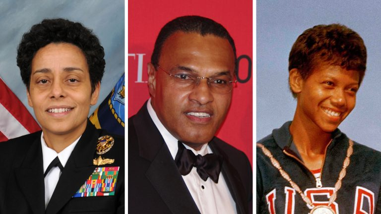 From left: Admiral Michelle J. Howard, Freeman A. Hrabowski, Wilma Rudolph