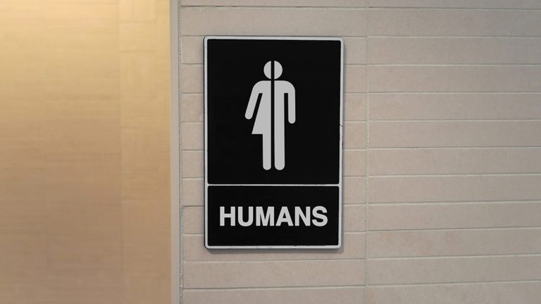 (<a href='https://www.bigstockphoto.com/image-172435466/stock-photo-gender-neutral-restroom-sign-that-says%2C-humans'>John Arehart</a>/Big Stock Photo)
